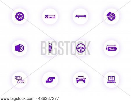 Auto Tuning Purple Color Vector Icons On Light Round Buttons With Purple Shadow. Auto Tuning Icon Se