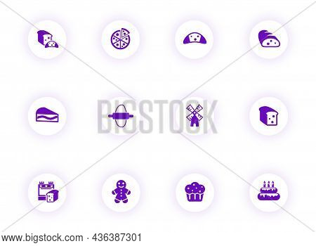Bakery Purple Color Vector Icons On Light Round Buttons With Purple Shadow. Bakery Icon Set For Web,