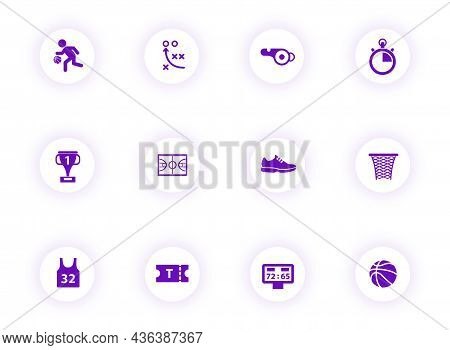 Basketball Purple Color Vector Icons On Light Round Buttons With Purple Shadow. Basketball Icon Set