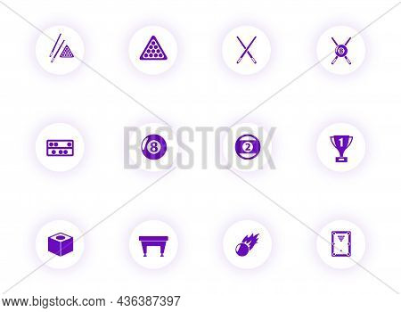 Billiards Purple Color Vector Icons On Light Round Buttons With Purple Shadow. Billiards Icon Set Fo