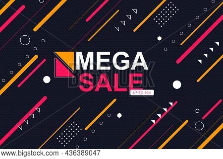 Sale Banner Background With Colorful Rounded Diagonal Lines. Vector Illustration.