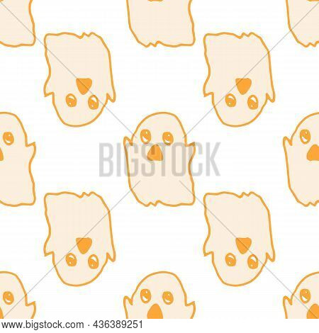 Vector Seamless Pattern Of An Orange Outline Ghost. A Hand-drawn Cartoon Flying Cute Ghost With A Do
