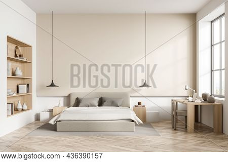 Wooden Bedroom Interior With Bed And Art Shelf, Parquet Floor And Carpet, Table And Chair Near Windo