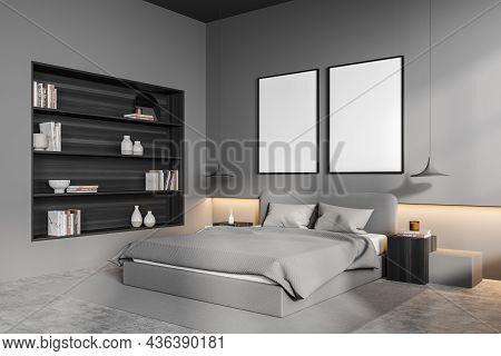 Light Grey Bedroom Interior With Bed And Linens, Coffee Tables With Lamps. Mockup Two Art Frames In