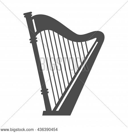 Ancient Harp Monochrome Simple Icon Vector Illustration. Retro Musical Instrument With Strings