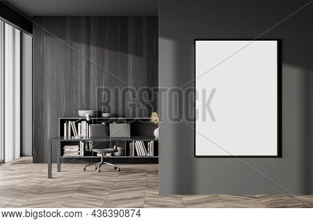 Canvas On Grey Wall, Dark Wood Materials, Parquet, Modern Sideboard, Simple Desk And Office Chair In