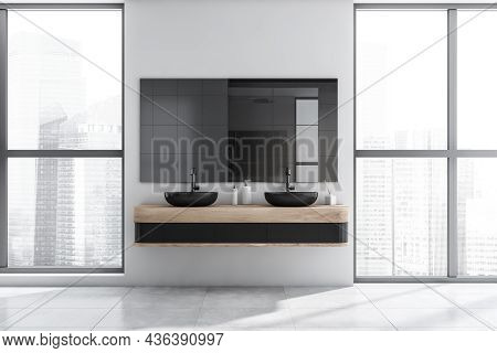White Shower Room Interior With Floor To Ceiling Windows, Mirror, Two Black Wash Basins And Stylish