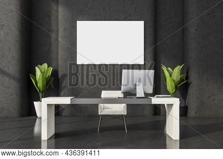 Horizontal Canvas On Black Wall Of Minimalist Office Interior With White Wood Desk, Textile Chair An