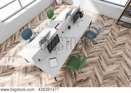Stylish White Office Interior Design With Parquet Floor And Creative Workstation, Having Four Blue A