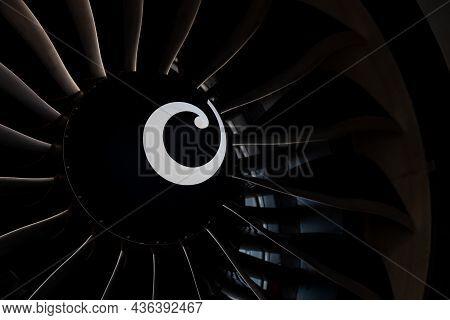 Plane Background. Airplane Turbine Blades Close-up. Airplane Engine. Turbines Blade. Aviation Techno