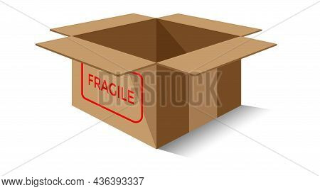 Cardboard Box Vector, Cardboard Box Icon For Fragile Products, Open Empty Brown Box Illustration Iso
