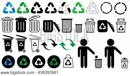 Recycling Icon Set, Recycle Vector Illustration, Trash Icon, Recycling Logo, Eco Bag, Bin, Trash Car