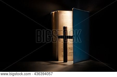 Spirituality, Religion And Hope Concept. Holy Bible And Cross On Desk. Symbol Of Humility, Supplicat