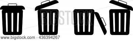 Trash Can Vector Icon. Delete Sign - Garbage Can With Lid Open - Two Open Dumps And One With Lid