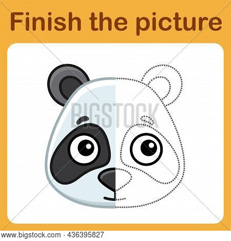 Connect The Dot And Complete The Picture. Simple Coloring Panda. Drawing Game For Children