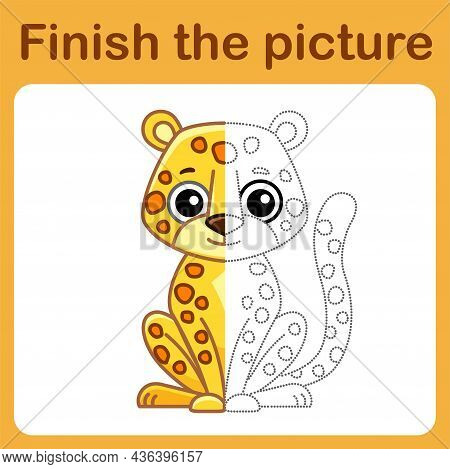 Connect The Dot And Complete The Picture. Simple Coloring Leopard. Drawing Game For Children
