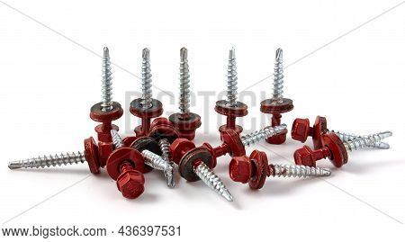Metal Roofing Screws. Colored Self-tapping Screws For Metal With A Hex Head Drill On A White Backgro