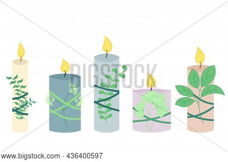 Set Of Candles With Plants. Relaxation And Relaxation Concept, Natural Aroma Candles For Yoga Or Med