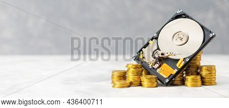 Chia Cryptocurrency. Chia Mining With A Hard Drive. Template Copy Space For Text