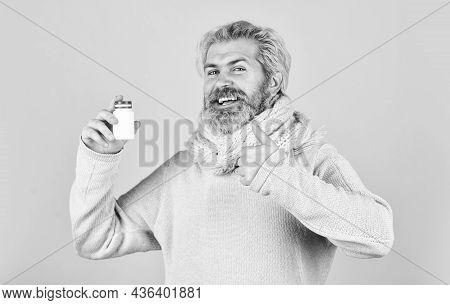 Vitamin In Tablets. Strengthen Immunity. Painkillers Pills. Headache Treatment. Mature Man Taking Pi