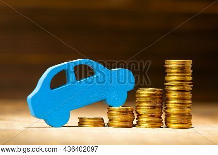 Car And A Stack Of Gold Coins, Steps Up. Concept Of Price Increase For Cars And Repairs