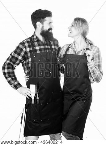 Family Cooking Grilled Food. Cooking Together. Couple In Love Getting Ready For Barbecue. Man Bearde