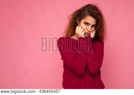 Portrait Of Young Emotional Offended Touchy Cute Brunette Curly Woman With Sincere Emotions Wearing