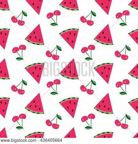 Vector Seamless Pattern With Watermelons And Cherries On White Background, Good For Summer Invitatio