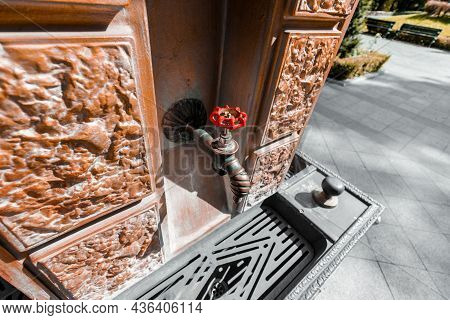 Drinking Faucet With A Red Handle In Turkish Style. Drinking Fountain In Oriental Style In The Park.