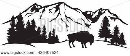 American Bison (buffalo) And Mountain Landscape Vector Illsutration