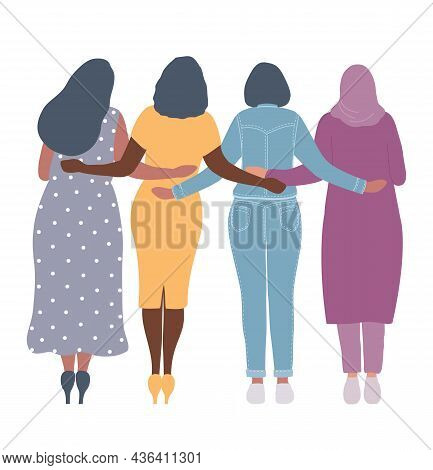 Young Women Are Standing And Hugging. Back View. International Women's Day Concept. Women's Communit