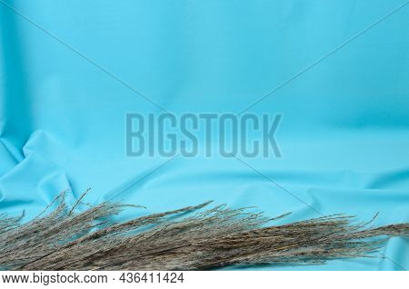 Autumn Bouquet Of Reeds On A Textured Background Made Of Soft Blue Fabric With Elegant Pleats. Selec