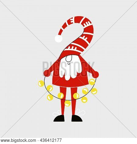 Christmas Gnome With Garland Or Cute Dwarf With Red Cap In Simple Scandinavian Nordic Style. Winter