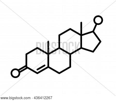 Testosterone Chemical Formula Logo Or Icon. Primary Sex Hormone And Anabolic Steroid In Males. Neuro
