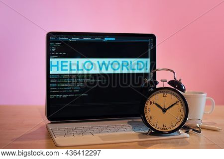 Workplace Of Programmer Or A Student. Its Time To Learn Programming, Concept. Time Management In The