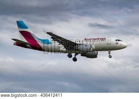Hamburg, Germany - July 5, 2017: Eurowings Passenger Plane At Airport. Schedule Flight Travel. Aviat