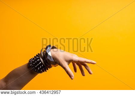 Hand Gestures. Poke Your Finger, Point To The Side. Womens Hand With Lots Of Bracelets, Youth Fun St