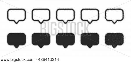 Speech Bubbles In Different Variations Stippled Hand Drawn Dotwork Vector Abstract Shapes Set Isolat