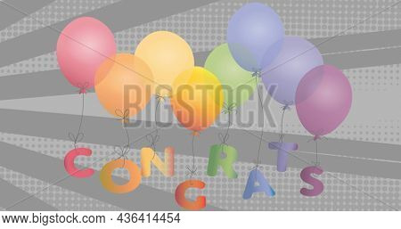 Image of floating colorful balloons and congratulations on grey background. victory, festivity and celebration concept digitally generated image.