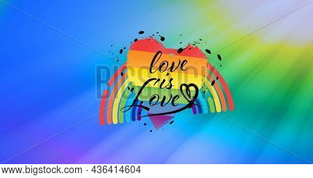 Image of heart, love is love and rainbow on colorful background. lgbt rights and equality concept digitally generated image.