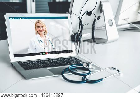 Telemedicine Service Online Video Call For Doctor To Actively Chat With Patient Via Remote Healthcar