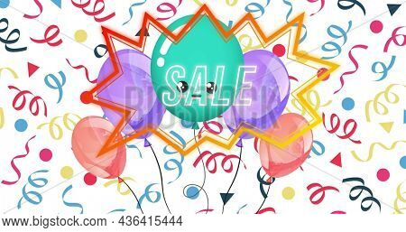 Image of word sale in white with colourful balloons and streamers on white. retail trade business communication concept, digitally generated image.