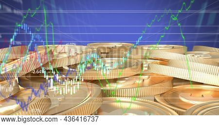 Image of red cubes with per cent sign over graphs and statistics. digitalinterface global finance and business concept digitally generated image.