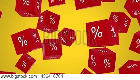Image of red cubes with per cent sign on yellow background. digitalinterface global finance and business concept digitally generated image.