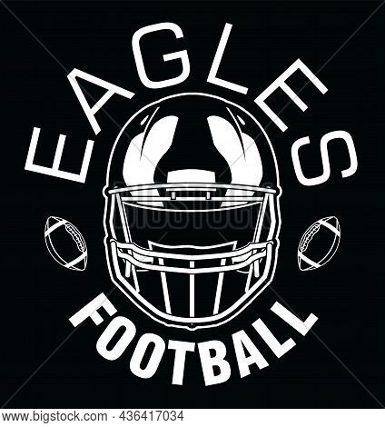 Eagles Football One Color - White Is A Team Design Template That Includes Text, Two Footballs And A