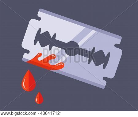Unsuccessful Face Shaving. Suicide Attempt With A Bloody Wound. Flat Vector Illustration Isolated On