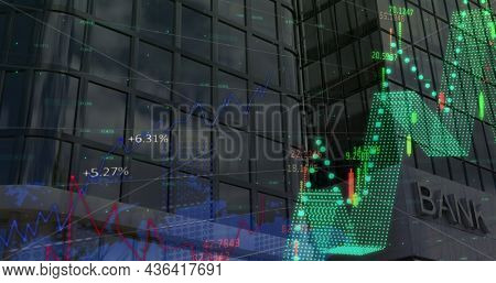 Image of financial data processing over modern bank building. global finances, business and contactless payment concept digitally generated image.