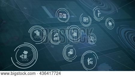 Image of financial tool icons over digital screens with data processing. . globalconnections, data processing and digital interface concept digitally.