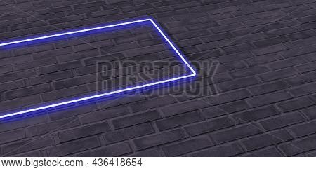 Brick Wall And Neon Sign Frame Neon Signs On Plaster Walls Text Frame On Old Background 3d Illustrat