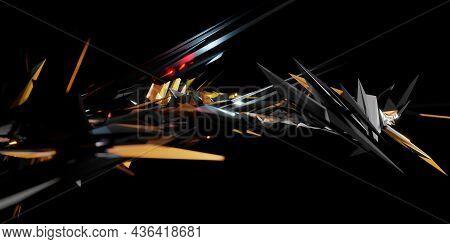 High Tech Technology Abstract Background Cyberpunk Concept 3d Illustration